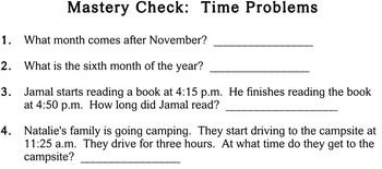 Time Problems, 2nd grade - Individualized Math - worksheets