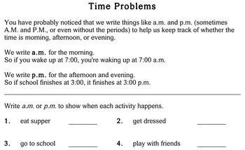 Time Problems, 2nd grade - worksheets - Individualized Math