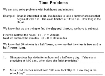 Time Problems, 3rd grade - worksheets - Individualized Math
