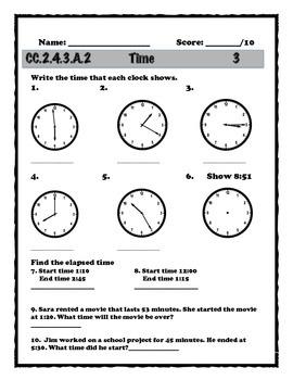 Time Progress Monitoring (3rd grade Common Core Aligned)