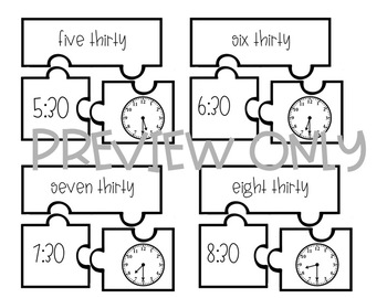 Time Puzzle! - Includes O'clock, Fifteen, Thirty, and Forty-Five