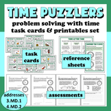 Time Puzzlers - solving problems with time task cards + printables set