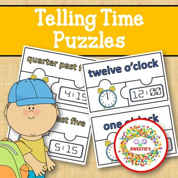 Telling Time Puzzles - 3 Pieces Per Puzzle