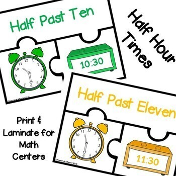 Telling Time Puzzles (Math Center Activity: Hour/Half Hour)