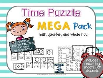 Time Puzzles--hour, half hour, and quarter hour