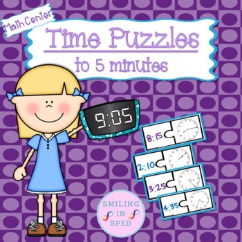 Time Puzzles to 5 Minutes- Math Center