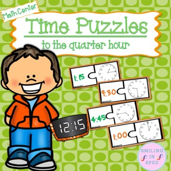 Time Puzzles to the Quarter Hour- Math Center