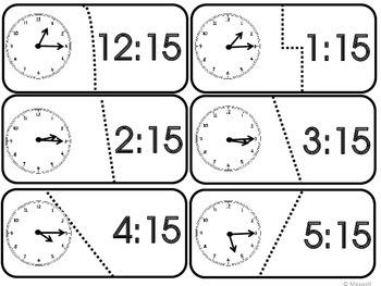 Time Puzzles 2 Show Quarter and  Three Quarter Hour   Clock Included