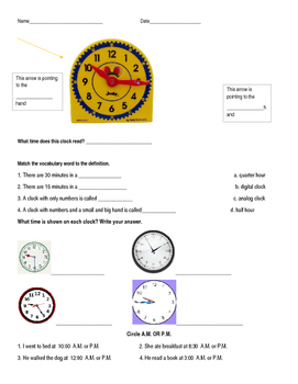 Time Quiz 5 minute intervals 2.MD.C.7