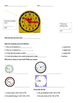 Time Quiz 5 minute intervals 2.MD.C.7