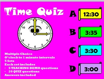 Time Quiz PowerPoint: Analogue / Digital / Words (o'clock to 1 minute intervals)