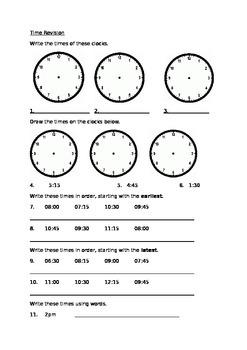 Time Revision worksheet