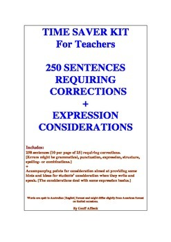 Time Saver Kit  250 Sentences Requiring Corrections + Expression Considerations