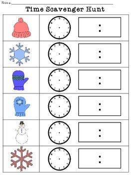 Time Scavenger Hunt- Winter Themed!
