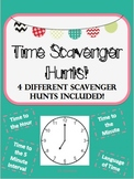 Time Scavenger Hunts: Hour, 5 minute interval, minute inte