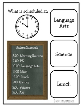 Time & Schedule Using An ANALOG CLOCK Task Clip Cards Life Skills
