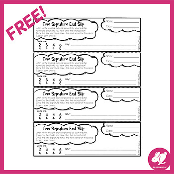 Freebie: Time Signature Exit Ticket Free