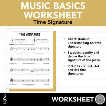 Time Signature Worksheet | Teachers Pay Teachers