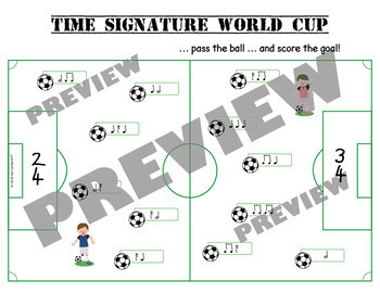 Time Signature - World Cup themed worksheets