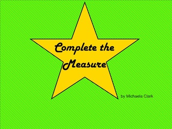 Time Signature and Rhythm: Complete the Measure Smartboard Activity