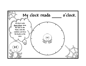 Time: Spiders time booklet to the Hour  Book 1