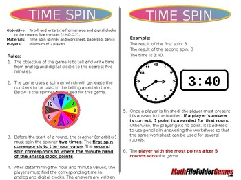 Time Spin - 2nd Grade Math Game  [CCSS 2.MD.C.7]