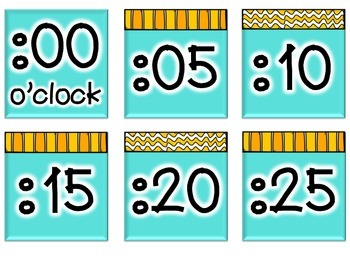 Time Talk: Clock Labels in Teal and Yellow
