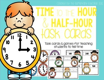 Time to the Hour and Half-Hour Task Cards