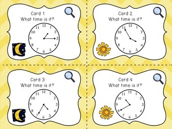 Telling Time to the Nearest Five Minutes, Task Cards Math Center