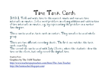 Time Task Cards 3.MD.1