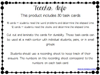 Time Task Cards - Elapsed Time (30 Cards)