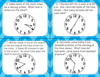 Time Task Cards: Elapsed Time, Telling Time to the Nearest Minute, Analog Clocks