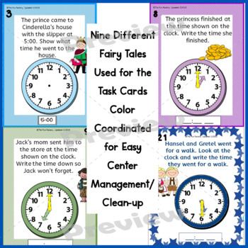 Time to the Hour, Half-Hour and Quarter Hour ~Task Cards~ Fairy Tale Themed, K-2