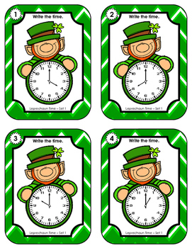 Time Task Cards • Leprechaun Time