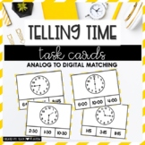 Telling Time Task Cards: Analog to Digital Match