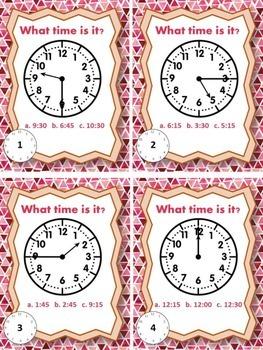 Time Task Cards- Quarter Hour