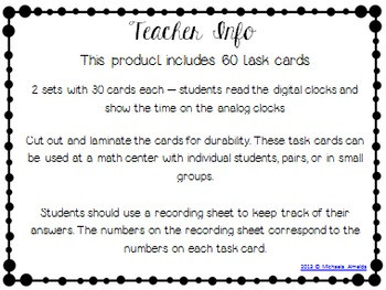 Time Task Cards - Time to 1 Minute (60 Cards)