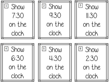 Time Task Cards - Half Hour (36 Cards)