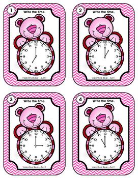 Time Task Cards • Valentine Bear