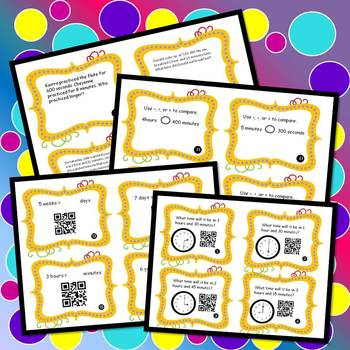 Elapsed Time & ConversionTime Task Cards & No Prep Worksheets w/ Word Problems