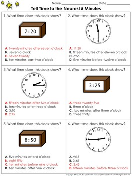 Time: Tell Time to the Nearest 5 Minutes #2 - Practice Sheets - King Virtue