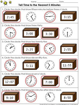 Time: Tell Time to the Nearest 5 Minutes #1 - Practice Sheets - King Virtue