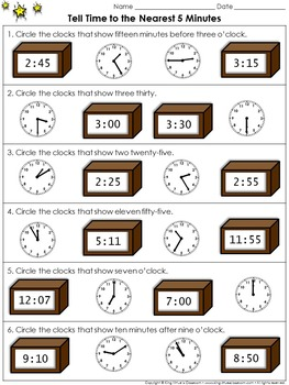 Time: Tell Time to the Nearest 5 Minutes #1 - Practice She