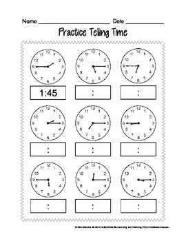 Time Telling Activities (Early Childhood)