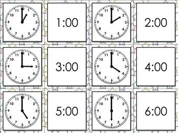 Time: Telling Time to the Nearest Hour Matching Game Sort - Superstars Theme