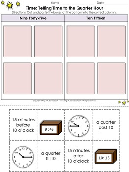Time: Telling Time to the Quarter Hour Cut and Paste Activity - King Virtue