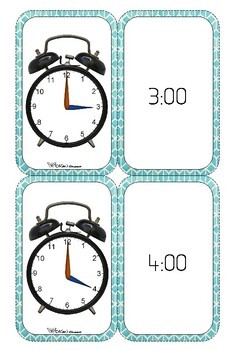 Time Telling flashcards  -five minute