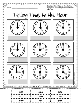 Telling Time to the Hour & Half Hour for Kindergarten and First Grade