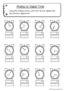 Time (telling the time - analog & digital) - 20+ printables (Measurement & Data)