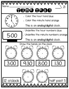 Telling Time Test: Hour and Half Hour {Confetti and Creativity}